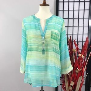 FRED DAVID Striped Ombre Chiffon Long Sleeve
